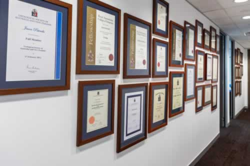 Photograph of medical degrees